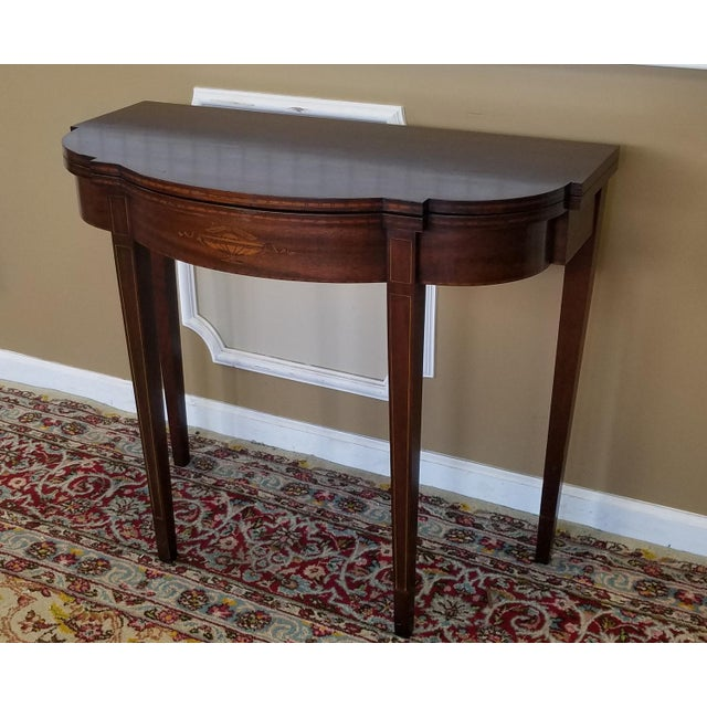 Mahogany sheraton style paine furniture flip top console for What is sheraton style furniture