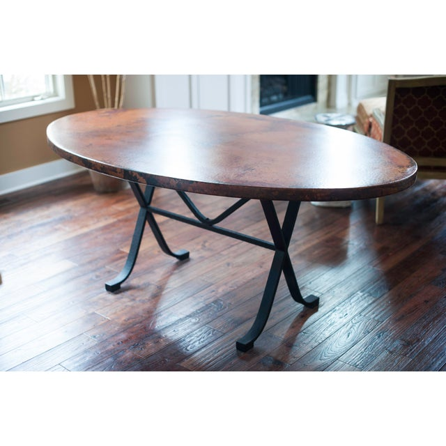 arhaus oval copper dining table w cast iron legs chairish. Black Bedroom Furniture Sets. Home Design Ideas