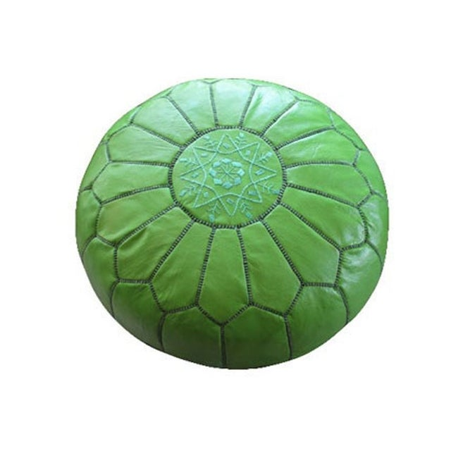Image of Green Moroccan Leather Pouf
