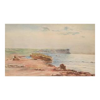 Original Vintage Coastal Watercolor Painting.