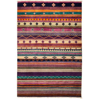 """Contemporary New Striped Hand-Knotted Rug - 4'2"""" X 6'2"""""""