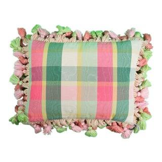Brigid Berlin Pink, Green & Yellow Plaid Pillow