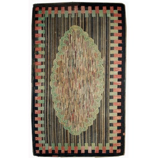 "American Antique Handmade Hooked Rug- 4'10"" x 7'7"""