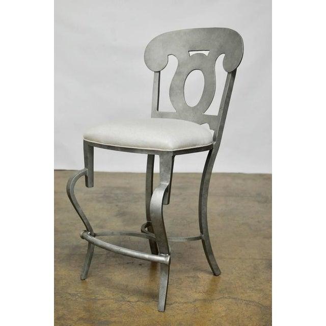 Modern Biedermeier Style Metal Barstools - Set of 3 - Image 3 of 10