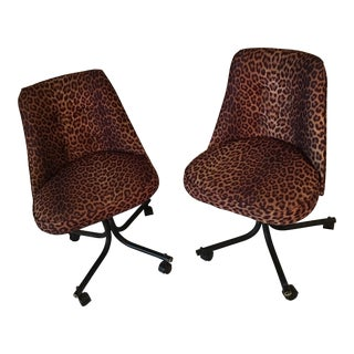 Mid Century Modern Leopard Chairs - a Pair
