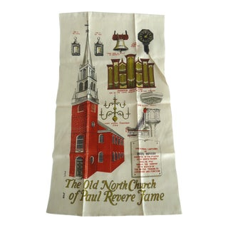 Vintage Old North Church Paul Revere Linen Tea Towel