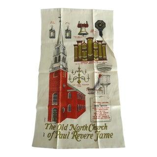 Vintage Old North Church Paul Revere Linen Tea Towel