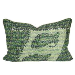 Emerald Bengal Silk Kantha Pillow