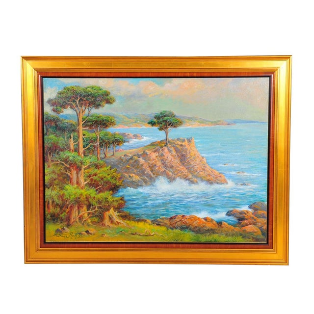 1935 Andreas Roth Carmel Coastline Oil Painting - Image 1 of 9