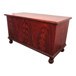 19thc Original Salmon & Decorated Pennsylvania Blanket Chest