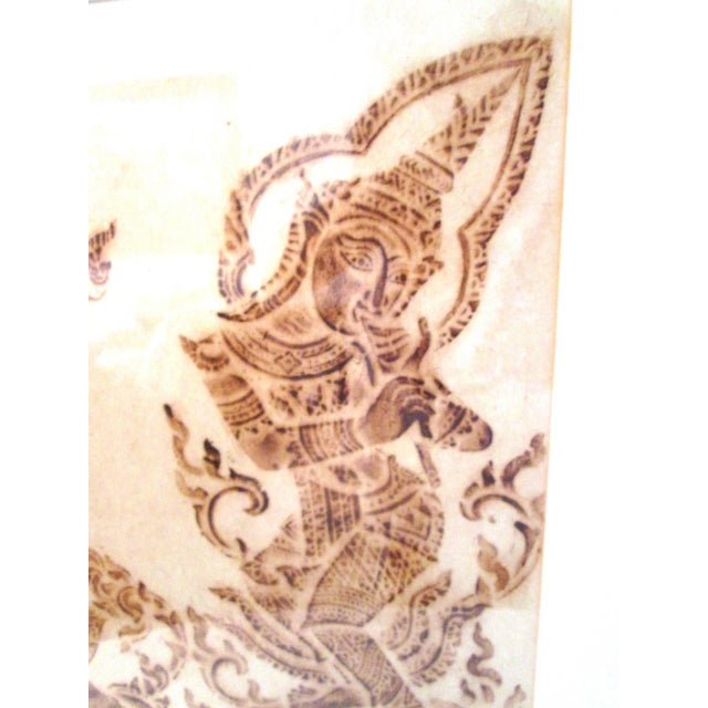 Mid-Century Thai Temple Rice Paper Rubbings - A Pair - Image 5 of 9