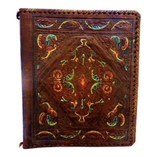 Vintage Embossed Hand Painted Leather Book Cover