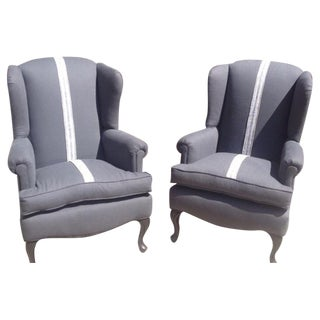 Wing Chairs in Grey Linen/Grain Sack - Pair