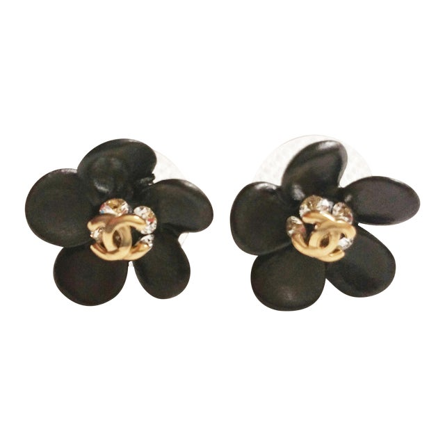 Image of Authentic Chanel CC Black Flower Piercing Earrings