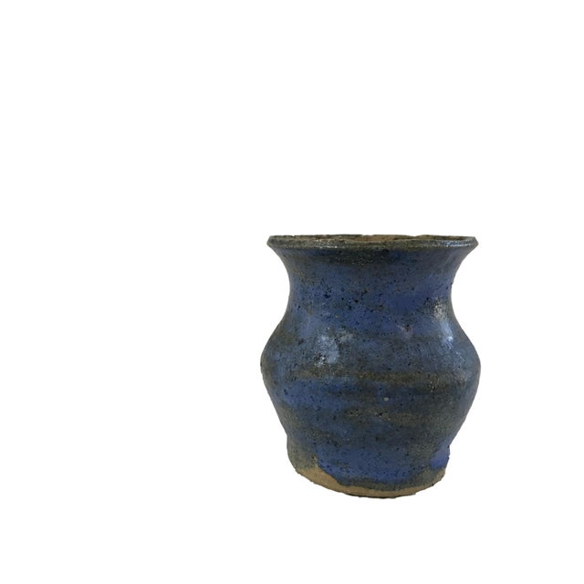 Hand Thrown Blue Textured Vase - Image 4 of 4