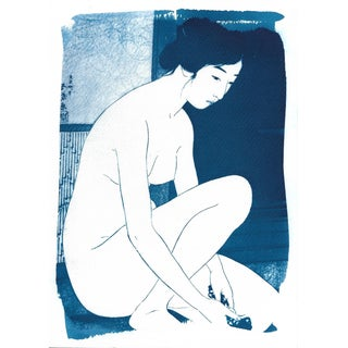 Japanese Ukiyo-E Woman Bathing Cyanotype Print
