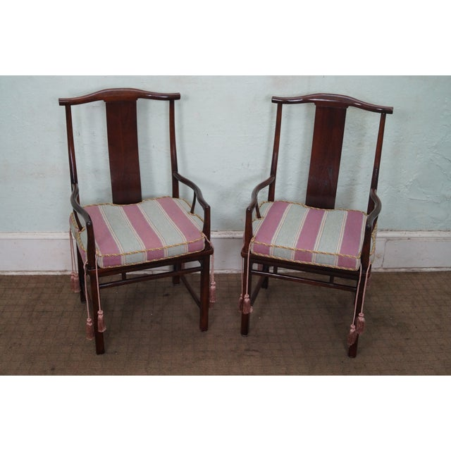 Baker Asian Mahogany Dining Chairs - Set of 8 - Image 8 of 10
