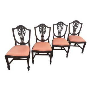 Antique Hepplewhite Mahogany Shield Back Chairs Prince of Wales Plumes - Set of Four