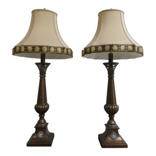 Ethan Allen French Regency Flame Table Lamps - A Pair
