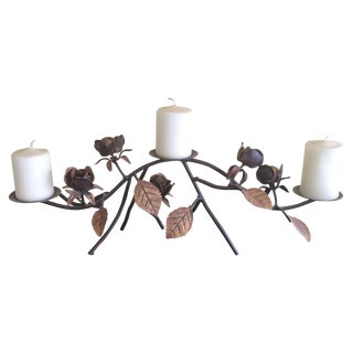 Bronzed Rose and Leaf Candleholder