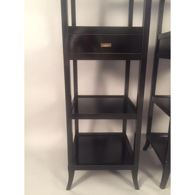 Contemporary Wood Black Lacquered Etagere Shelves - A Pair - Image 3 of 9