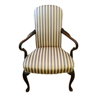 Mahogany Arm Chair in Striped Upholstery