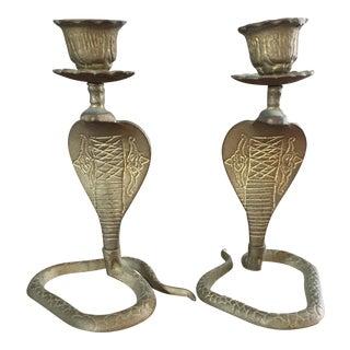 Vintage Brass Cobra Snake Candlesticks - Pair