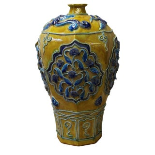 Handmade Ceramic Yellow Blue Dimensional Flower Vase Jar