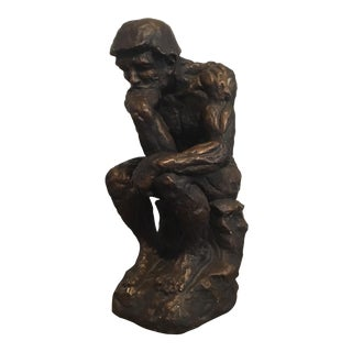 "Bronze Painted ""The Thinker"" Plaster Sculpture"