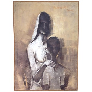 Mid-Century Abstract Painting of Mother and Child