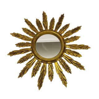 French Wooden Gilt Sunburst Mirror
