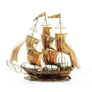 Vintage Metal Clipper Ship