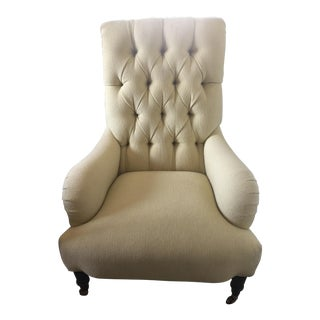 Pale Yellow Tufted Back Armchair