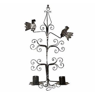 Black Metal Bird-Designed Wall Sconce