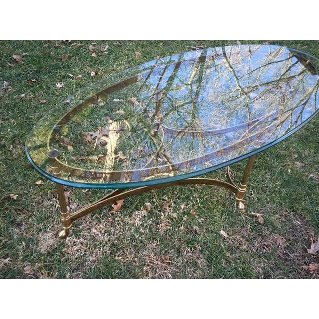 LaBarge Oval Hoofed Brass Coffee Table - Image 3 of 4
