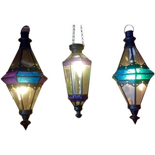 Boho Chic Stained Glass Pendant Lamps - Set of 3