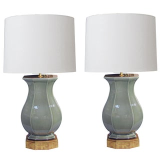 Good Quality Pair of Italian Celadon Glazed Lamps by Ceramiche Zaccagnini