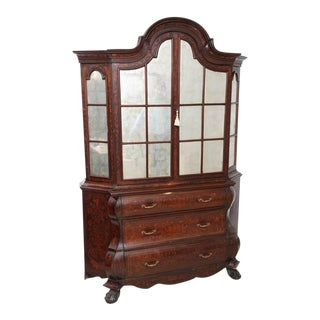Antique 1830s Dutch Marquetry Bookcase / Display Cabinet