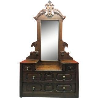 Antique Carved Mahogany Vanity Dresser