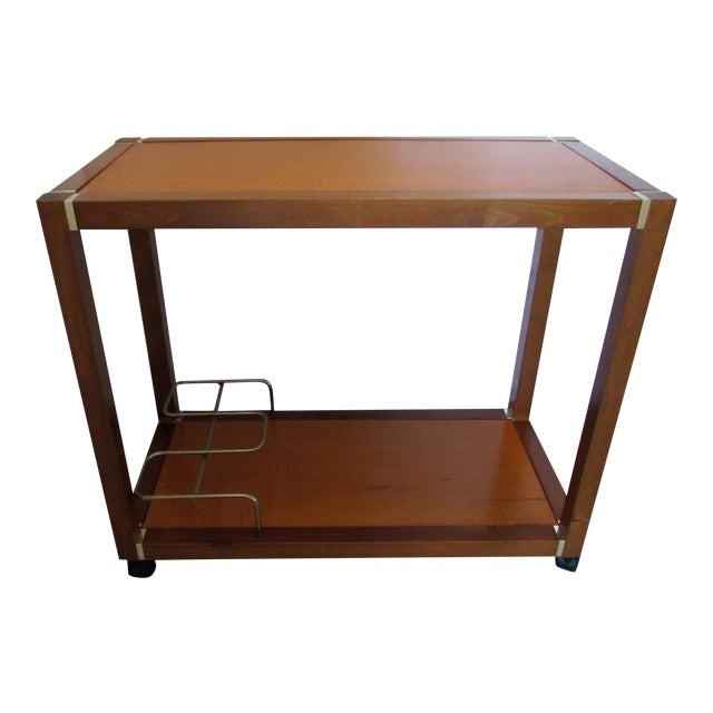 Mid Century Wood & Brass Bar Cart - Image 1 of 10