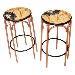 Mid-Century Modern Copper Cane Stools