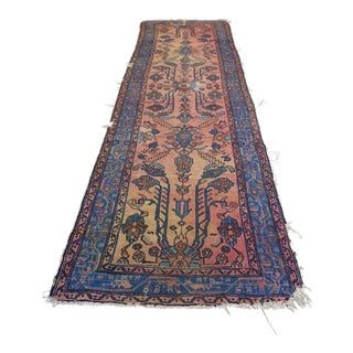 Blue & Peach Persian Runner - 2′10″ × 10′