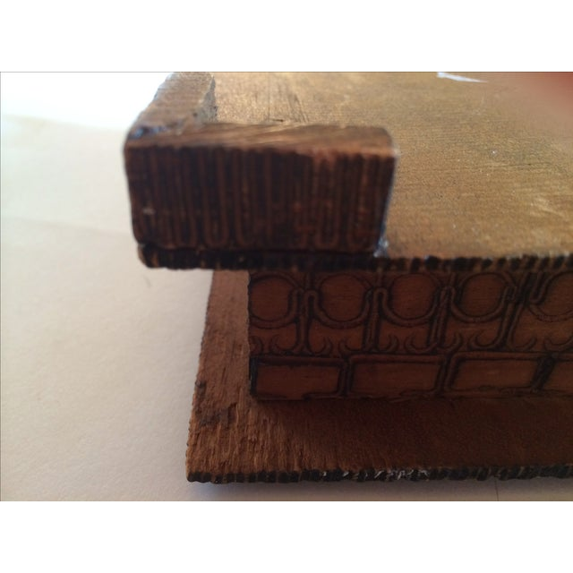 Vintage Carved Box With Peacock on Painted Lid - Image 6 of 8