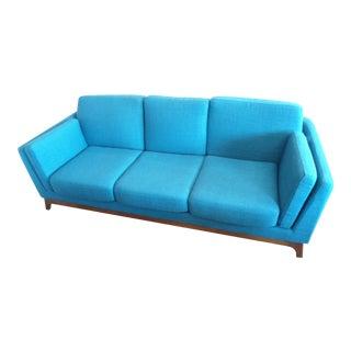 Mid-Century Style Lagoon Teal Sofa With Walnut Legs