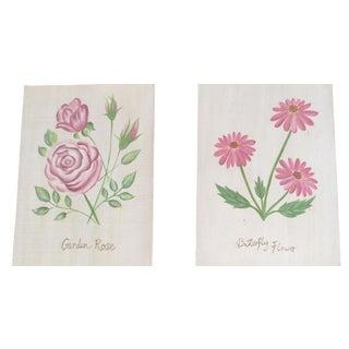 Pretty Pink Floral Wall Art - A Pair