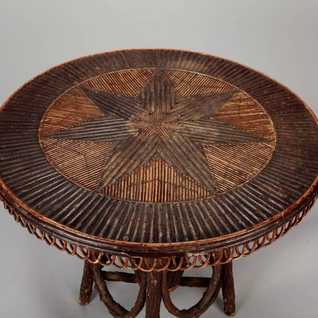 French Round Bent Willow Twig Table With Star Design Inlay - Image 4 of 9