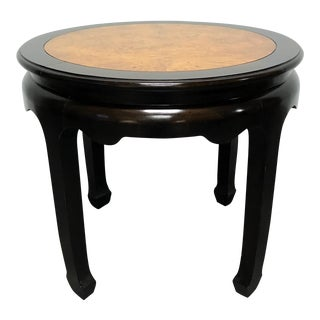 Century Chin Hua by Raymond K Sobota Burl Wood & Lacquer Round End Table