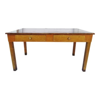 Vintage 1940's Academia Library Table / Desk