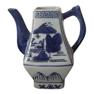 Blue & White Chinoiserie Teapot Vase