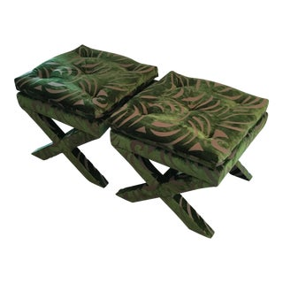 """Pair of Newly Upholstered Billy Baldwin """"X"""" Benches"""